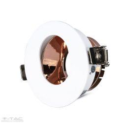 GU10 kör beépítőkeret fehér/réz - 3163