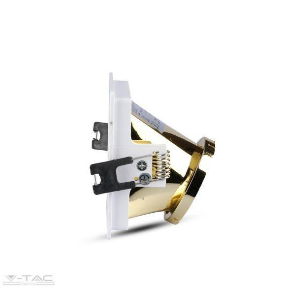 GU10 négyszög beépítőkeret fehér/arany - 3166