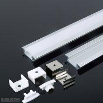 Alumínium profil LED szalaghoz 2 méter tejfehér fedlappal - 3350