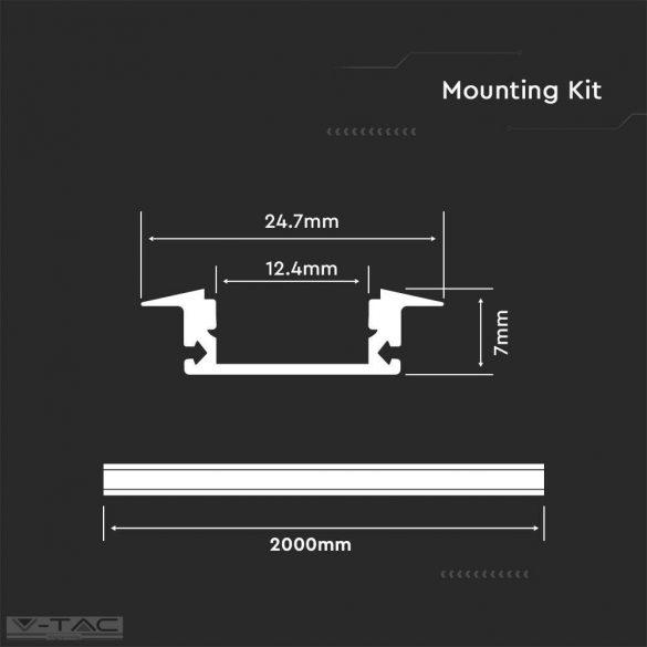 Alumínium profil 2 méter tejfehér fedlappal - 3350