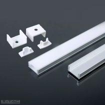 Alumínium profil LED szalaghoz 2 méter tejfehér fedlappal - 3355