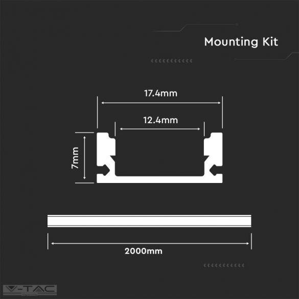 Alumínium profil 2 méter tejfehér fedlappal - 3355