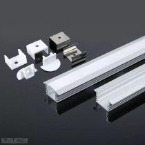 Alumínium profil LED szalaghoz 2 méter tejfehér fedlappal - 3357