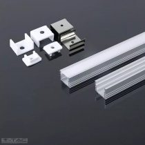 Alumínium profil LED szalaghoz 2 méter tejfehér fedlappal - 3358