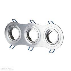 GU10 beépítőkeret tripla alumínium kör - 3604