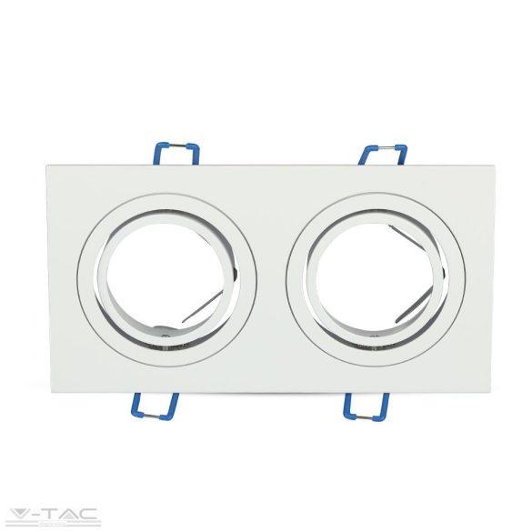 GU10 beépítőkeret dupla szögletes alumínium négyszög - 3607