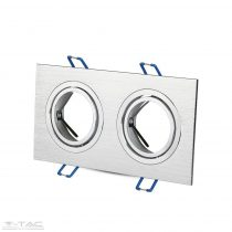 GU10 beépítőkeret dupla szögletes alumínium négyszög - 3608
