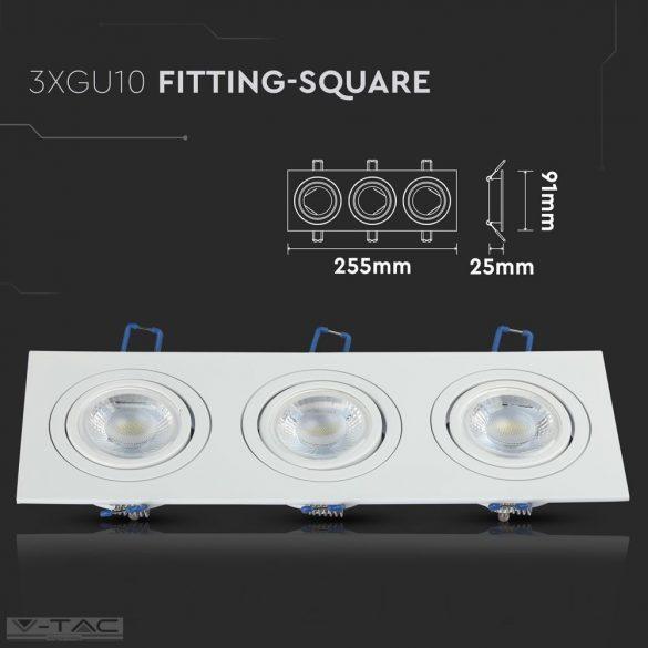 GU10 beépítőkeret tripla szögletes alumínium kör - 3609