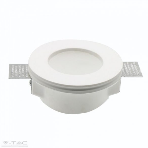 GU10 kör beépítőkeret fehér gipsz opál üveglappal - 3692