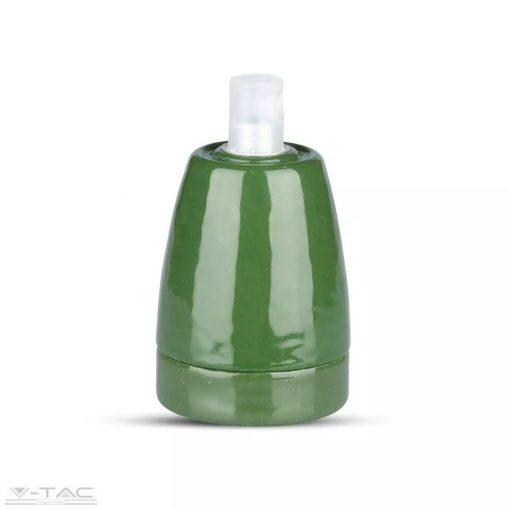 Porcelán E27 foglalat zöld - 3797