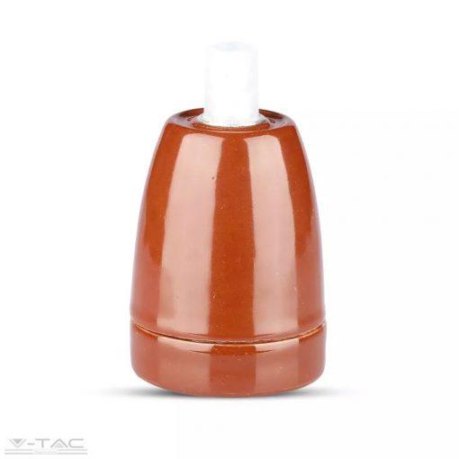 Porcelán E27 foglalat barna - 3802