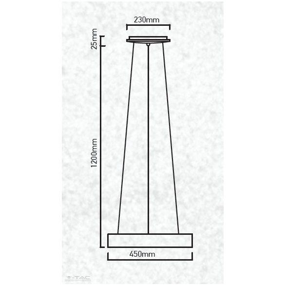 25W LED gyűrű csillár fekete dimmelhető 3000K - 3993