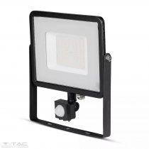 50W Mozgásérzékelős LED reflektor fekete IP65 3000K - PRO469