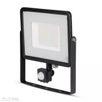 50W Mozgásérzékelős LED reflektor Samsung chip fekete IP65 6400K - PRO471