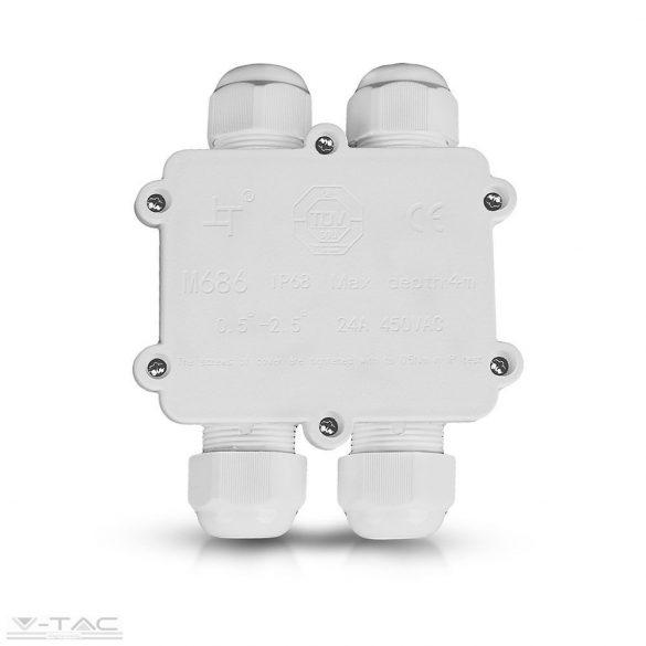 Led reflektorhoz vízhatlan kötődoboz fehér (4 osztás) - 5983