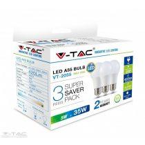 5W LED izzó A55 E27 A++ 2700K 3db/csomag - 7266