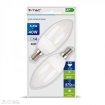 5,5W LED izzó E14 gyertya 2700K (2db/csomag) - 7291