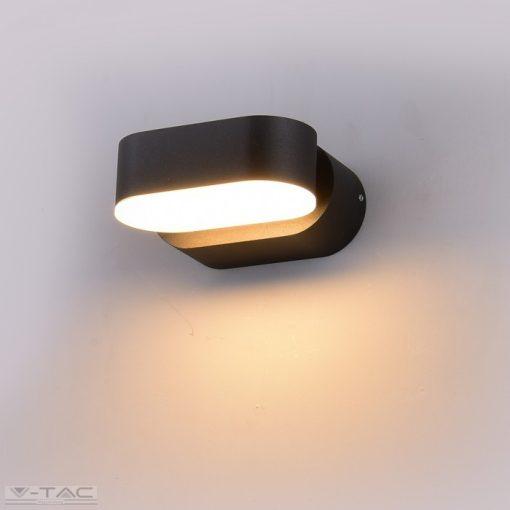 6W LED ovális fali lámpatest fekete 3000K IP65 - 8288