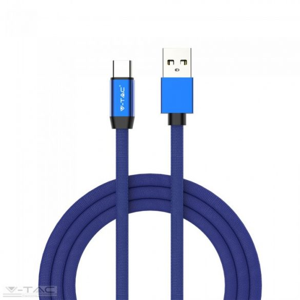 Micro USB C szövet kábel 1m kék 2,4A Rubin széria - 8630