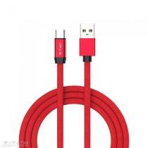 Micro USB C szövet kábel 1m piros 2,4A Rubin széria - 8631