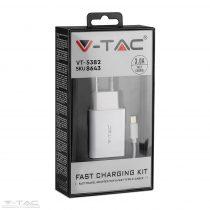 Fehér USB-s hálózati gyorstöltő USB C kábellel - 8643