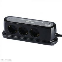 3 csatlakozós kapcsolós hosszabító-elosztó 2db USB porttal (3G 1,5mmx1,4m) fekete - 8817