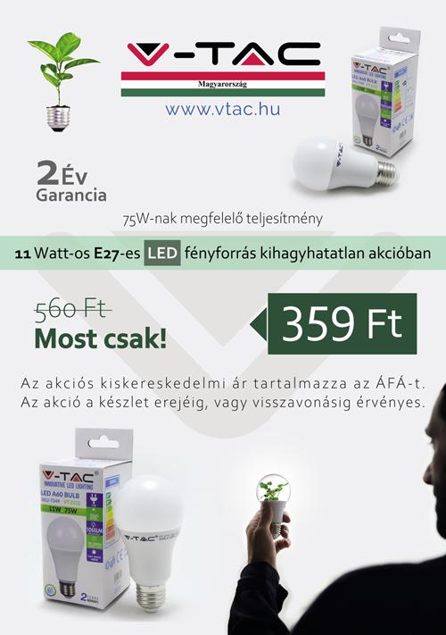 11W E27 LED lámpa akció