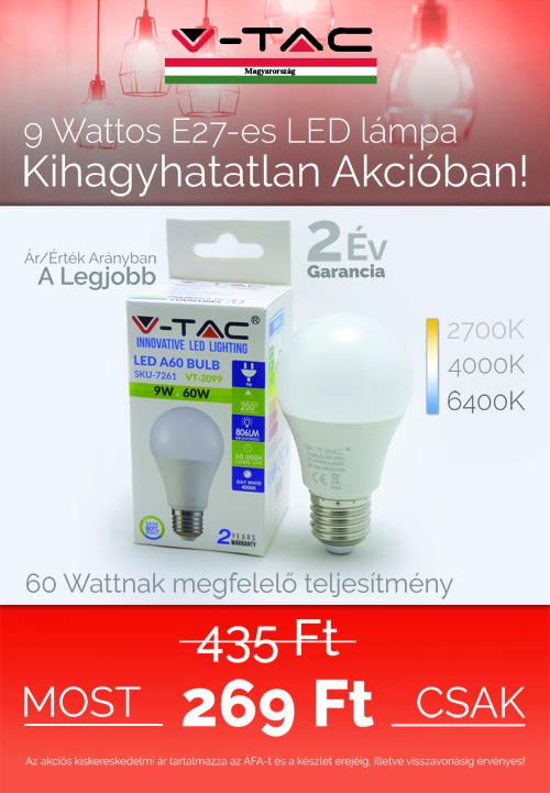 9W E27 Led lámpa akció