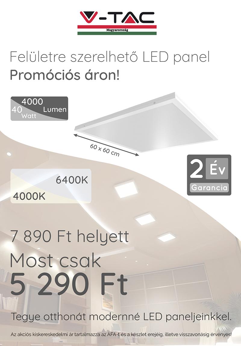 Felületre szerelhető LED panel 60 x 60