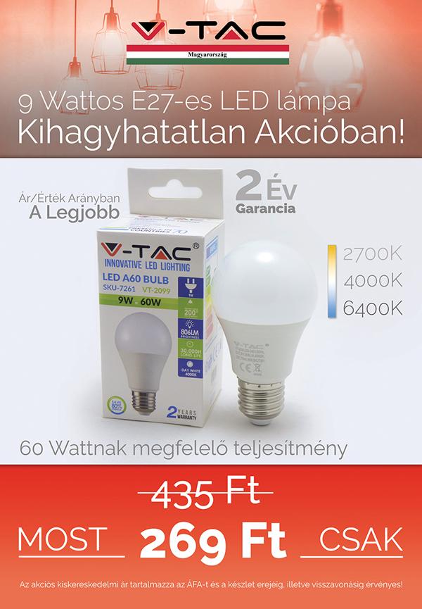 E27 9W LED lámpa akció